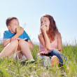 Summer portrait, children with apples — Stockfoto