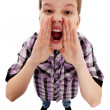 CLOSEUP OF A BOY SCREAMING OUT LOUD — Stock Photo
