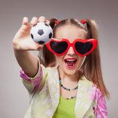 Football fan beautiful young girl — Stock Photo