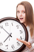The girl with the clock — Stock Photo
