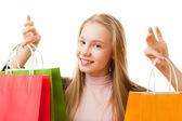 Ragazza adolescente con borse della spesa — Foto Stock