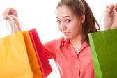 Dospívající dívka s nákupní tašky — Stock fotografie