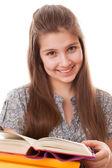 Teenager girl with books — Stockfoto