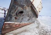 Donmuş gemiden kıyıya — Stok fotoğraf