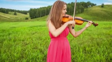 Violinist plays on a green meadow — Stock Video