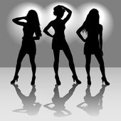 Silhouettes of three girls — Stock Vector