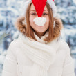 Woman in Cap Santa Claus — Stock Photo