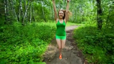 Teenager Girl Jogging in Park — Stock Video