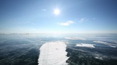 Panoramic Movement on the Ice of Lake Baikal — 图库视频影像