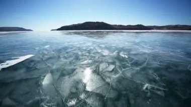 Winter road through the Lake Baikal — Stock Video