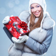 Beauty young girl with christmas gift — Stock Photo