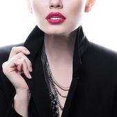 Portrét krásné ženy s červenou sexy rty — Stock fotografie