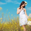 Young beautiful woman in a summer field — Stock Photo