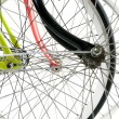 Front view of three bike wheel hiding eachother isolated on whit — Stock Photo #38928571