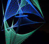 Blue and green lights created 3D formation in black background — Stock Photo