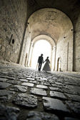 An elegant couple walk toward in the tunnel to theirs wedding.  — Stock Photo