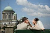 Beautiful wedding couple sit on a bench. The beauty bride pettin — Zdjęcie stockowe