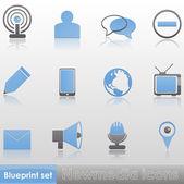 Blueprint set - Newmedia icons — Stock Vector
