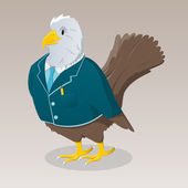 Cute cartoon bird in jacket — Stock Vector