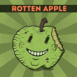Stock Vector: Funny, cartoon, malicious, green monster apple, on the scratchy retro background. Vector illustration. Halloween card. Rotten apple.