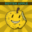 Funny, cartoon, malicious, yellow monster apple, on scratchy retro background. Vector illustration. Halloween card. Rotten apple. — Stock Vector #34330453