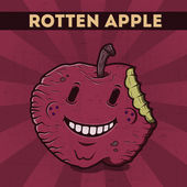 Funny, cartoon, malicious, violet monster apple, on the scratchy retro background. Vector illustration. Halloween card. Rotten apple. — Stock Vector