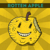 Funny, cartoon, malicious, yellow monster apple, on the scratchy retro background. Vector illustration. Halloween card. Rotten apple. — Stock Vector