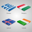 Shiny web glossy bricks buttons with european country flags. Vector Illustration. Greece, Hunguary, Iceland, Ireland — Stok Vektör