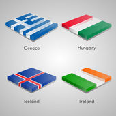 Shiny web glossy bricks buttons with european country flags. Vector Illustration. Greece, Hunguary, Iceland, Ireland — Stock Vector