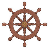 Detailed brown outlines nautical rudder isolated on white background. Ship element. Vector illustration. — Stock Vector