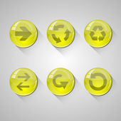 Detailed yellow glossy arrow buttons set with long shadow. Web elements. Vector illustration — Stock Vector
