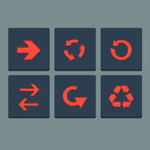 Simple red stamp flat arrow icons set. Web elements. Vector Illustration. — Stock Vector