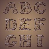 Halloween decorative alphabet - Tree & roots letters, font. Vector Illustration. — Stock vektor