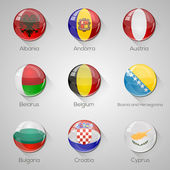 European flags set glossy buttons with long shadows. Vector illustration. Part 1 — Stock Vector