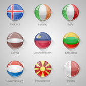 European flags set glossy buttons with long shadows. Vector illustration. Part 3 — Stock Vector