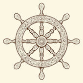 Detailed brown outlines nautical rudder isolated on beige background. Ship element. Vector illustration. — Stock Vector