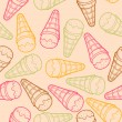 Detailed graphic ice cream cone seamless pattern. Colorful outlines. Light background. Vector illustration. — Stock Vector #46533321