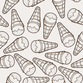 Detailed graphic ice cream cone seamless pattern. Brown outlines. Light background. Vector illustration. — Stock Vector