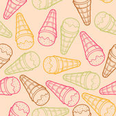 Detailed graphic ice cream cone seamless pattern. Colorful outlines. Light background. Vector illustration. — Stock Vector