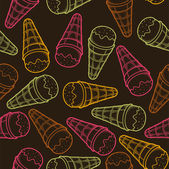 Detailed graphic ice cream cone seamless pattern. Colorful outlines. Dark background. Vector illustration. — Stock Vector