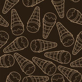 Detailed graphic ice cream cone seamless pattern. Beige outlines. Dark background. Vector illustration. — Stock Vector
