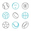 Simple trendy sport icons set (baseball, bowling, billiard, volleyball, hockey, basketball, soccer, tennis, american football). Vector illustration — Stock Vector #48440325