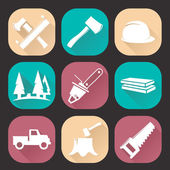 Lumberjack woodcutter icons set isolated on dark background. Flat trendy design. Vector illustration — Stock Vector