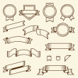 Set of vintage ribbons and labels isolated on white background. Line art. Modern design. Vector illustration — Stock Vector #50260145