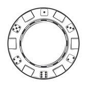 Single casino chip isolated on a white background. Line art. Modern design. Vector illustration — Stock Vector