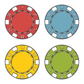 Casino chips set isolated on a white background. Color line art. Modern design. Vector illustration — Stock Vector