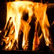 Royalty-Free Stock Photo: Fire in a fireplace  Fire flames on a black background