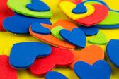 Fondo de pegatinas de corazones de colores — Foto de Stock