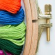 Tambour with threads for embroidery — Stockfoto #27624141