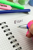 Pen and paper. Essay Writing — Stock Photo